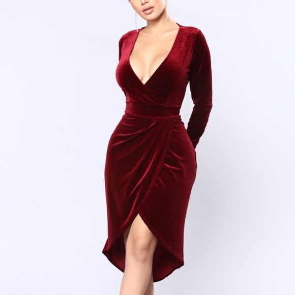 Burgundy Velvet Midi Wrap Dress Nwt